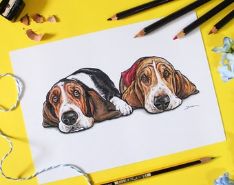 Custom A5 illustrated pet portrait on paper, created from your photographs, dogs / cats / horses etc