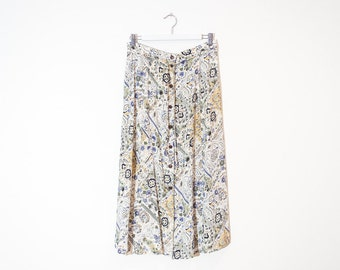on sale - high waist cream floral midi skirt / abstract button-up a-line skirt / size L