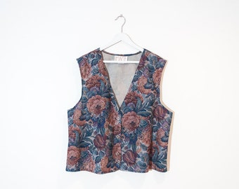 on sale - floral lightweight button-up vest / tapestry sleeveless jacket / size XL