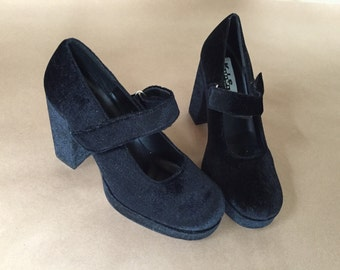 vintage 90s black velvet platform heels |unworn old stock | 8