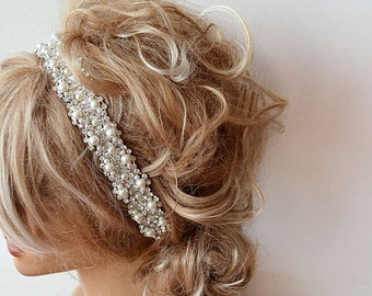 Wedding hair Accessory, Bridal Headbands, Pearl Wedding headband, Pearl Hair Accessories, Bridal Hair Accessory, Rhinestone and  ivory Pearl