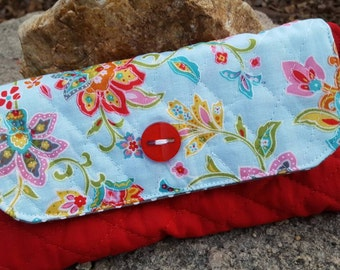 Quilted Ladies Wallet, Floral checkbook holder
