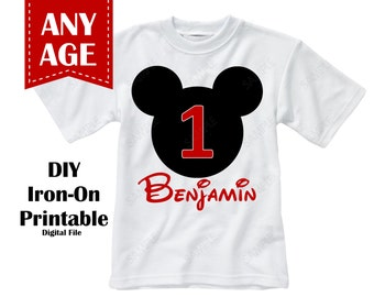 Printable Mickey Mouse Birthday Iron On Transfer Boy Custom Colors Personalized Name Age - Digital File