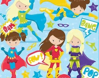 80% OFF SALE Superhero girls clipart commercial use, vector graphics, digital clip art, digital images - CL661