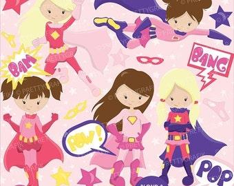 80% OFF SALE Superhero girls clipart commercial use, vector graphics, digital clip art, digital images - CL662