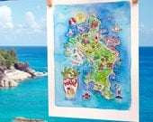 Illustrated Hand Painted Watercolor Map of Mahe, Seychelles