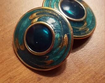 Vintage Round Aqua Blue Gold Enamel Clip On Earrings