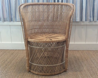 Vintage Woven Wicker Rattan Chair