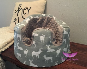 Premier Prints Grey Deer Silhouette Bumbo Cover- You Pick Minky Color