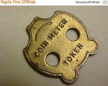SALE Vintage Happy Face Smiling Coin Meter Token Solid Brass Circa 1960's Item for Street use