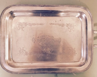 Comptoir de Famille La Brasserie Rectangular Tray with Handles, Rustic, French, Shabby, Silver-plated Tray