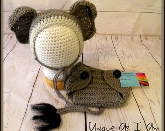 Crochet Baby Elephant Hat and Diaper Cover/Photo Prop