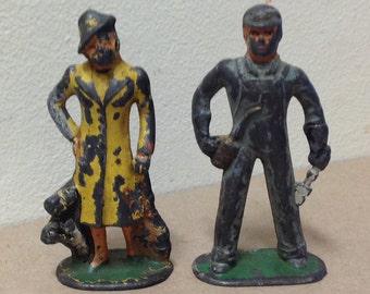 Barclay antique lead toy soldiers Train Mechanic Woman Passenger with Dog pre war production toys civilians RR Train Railway