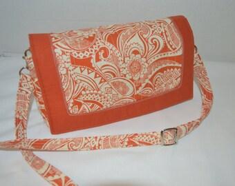 Convertible clutch, 3 pockets, Purse, Shoulder bag Brunt Orange tribal design