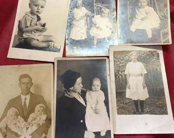 Six circa 1930s Black and White family Photo Postcards