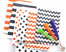 Halloween Party Favor Bag--(24) BLACK Stripe Paper Bags Black Stripe Bags (5x7): Black Wedding, Carnival Party, boutique/ bakery bag
