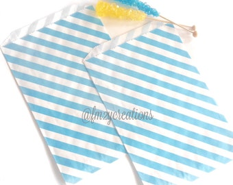 Blue LARGE Stripe Favor Bag | AQUA Blue Stripe Favor Bags (6.25 x 9.25) | Light Blue Treat Bags | Boy Baby Shower Favors | Boy 1st Birthday