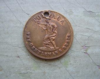 A Rare Antique Victorian Token/Coin/Medallion/Brass Farthing - 'Tohpaca The Gentleman's Brace' - 1800's.