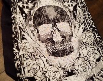 Skull Crystal Fringe Purse