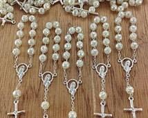 10%off weekend sale 25 pcs Pearl Decade Rosaries, Mini Rosaries, First communion favors Recuerditos Bautizo 25pz/ Mini Pearl Rosary Baptism