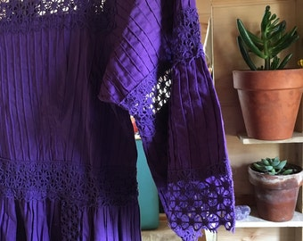 COMING SOON 1970s Purple Mexican Maxi Dress