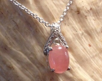 "Sterling Silver Pink Stone and Diamond Pendant on 18"" Sterling Silver Chain (st - 1533)"