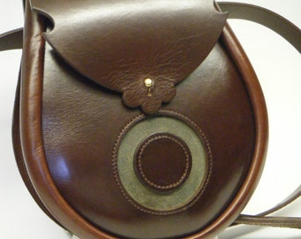 Handmade Brown and Swamp Green Moon Leather Earn Sporran