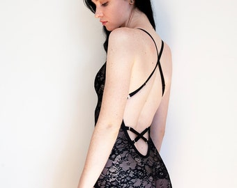 Greer Black Lace Bodysuit with adjustable criss cross straps