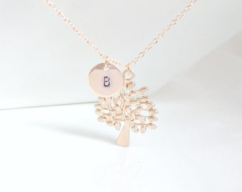Tree Of Life Necklace, Rose Gold Tree Of Life, Initial Necklace, Mom Gifts, Rose Gold Jewelry, Personalized Jewelry, UK Shop,Christmas Gifts