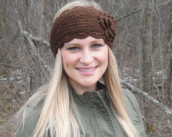 Women's Knitted Headband with Flower - Brown