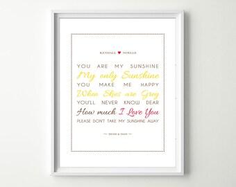 You are my Sunshine Wall Art - You are my Sunshine Sign - Custom Nursery Art Print Poster- Baby Girl / Boy Nursery Decor - Choose colors