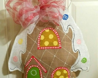Burlap Gingerbread house door hanger