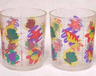 Vintage Set Four Plastic Tumblers Stylized Sea Life Motif Made in Taiwan 1994