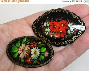 Mothers Day Sale Two Different Vintage Brooches of Black Plastic w HP Flowers 1960s
