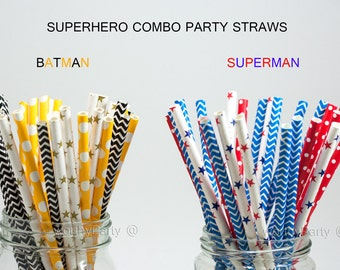SUPERHERO BATMAN vs SUPERMAN Inspired Party Paper Straws Combo with Free Printable Flags (25 count)