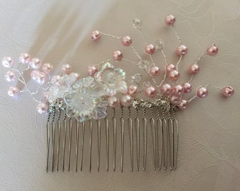 Pale Pink Hair comb with pearls rhinestones and flowers
