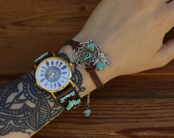 Hand-beaded Watch, Native american Inspired