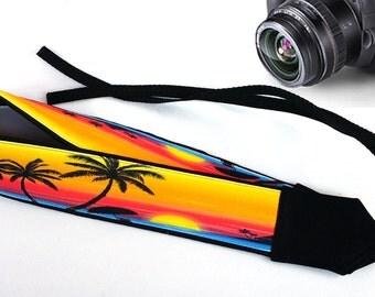 Accessories. Beach Camera Strap. Cute Strap. Sunset Camera Strap, Palm-Trees Camera Strap.