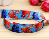 "Finding Nemo Dory 5/8"" FOE Fold Over Elastic By The Yard - Headband, Bracelet, Cloth Diaper Sewing Supplies"