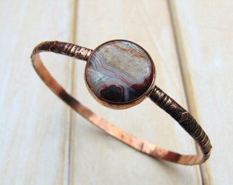 Crazy Lace Agate Bangle - Copper Jewellery - Patterned Bangle -  Hand Forged Copper Bangle - 7th Anniversary