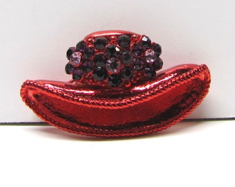 Red Hat Society Brooch Pin, Red Finishing with Rhinestones ( Red Hat Society ) - Costume Jewelry - Vintage Collectibles