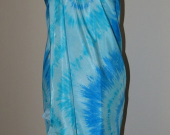 Pure Silk Sarong Pareo Shawl Wrap - Beach Cover Up – Hand Dyed, Blue, Turquise