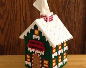 Santa's Workshop Tissue Box Cover // Plastic Canvas  // Santa Claus // Santa's House // Christmas Decor//  Home Decor // Holiday Gifts