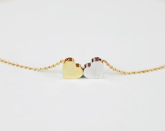 Tiny Gold and Silver Hearts Necklace . Bridesmaid Necklace Bridesmaid Gift . Dainty and Delicate Everyday Necklace  Birthday Gift