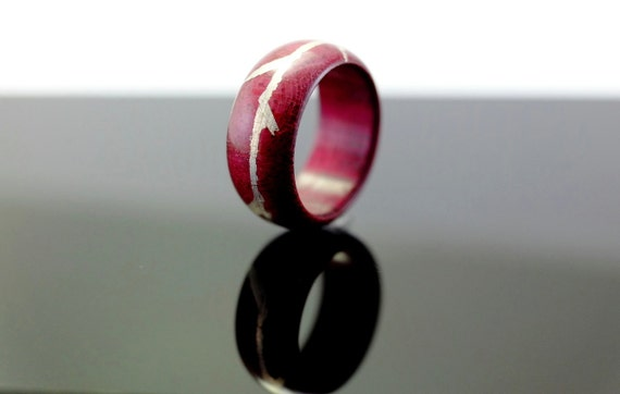Purpleheart and silver wooden ring