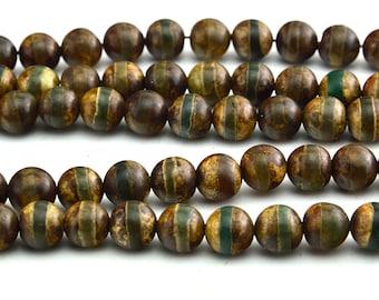 """15""""  Smooth  Tibetan  Agate dZi  beads  round  bead , one line  --8mm"""