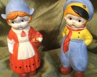 Stone bisque Dutch dolls