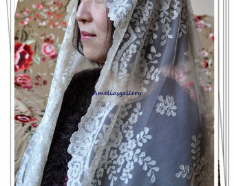 100% Hand Embroidered spanish catholic lace mantilla chapel wedding veil