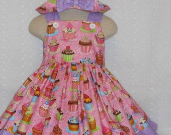 Cupcake Dress and Hat, Custom Boutique Dress and Hat Ensemble, Unique Handmade Cupcake Birthday Dress and Hat set, Birthday Dress Cupcakes