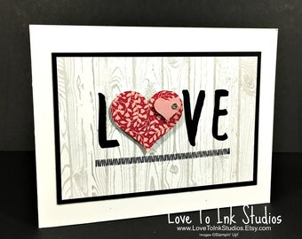 Rustic Love Card, Valentine's Day, Anniversary, Wedding, Engagement, Heart Card Hardwood Background